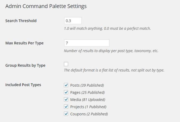 Admin Command Palette Search