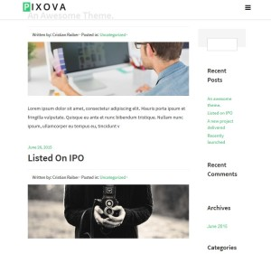 Pixova Lite: A Free One Page, Full Featured WordPress Theme