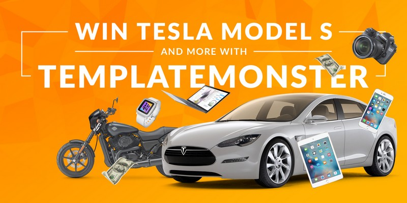 TemplateMonster Social Stock Giveaway - Win Tesla Model S & 3 Premium Themes
