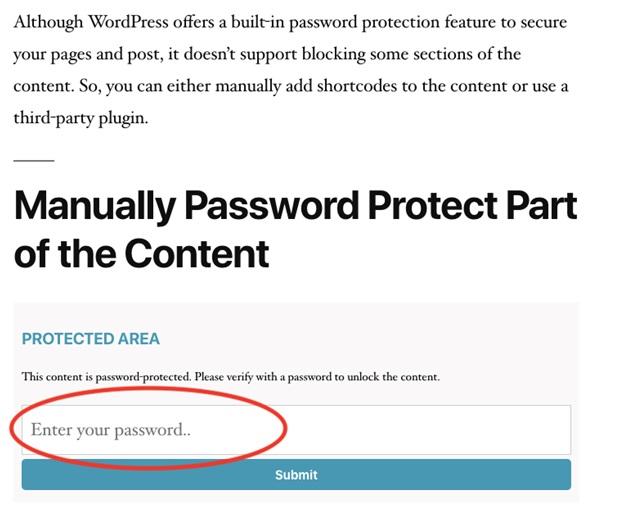 manually password protect wordpress